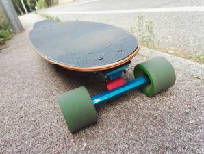Flying wheels deck with Surf Rodz trucks and OJ wheels.